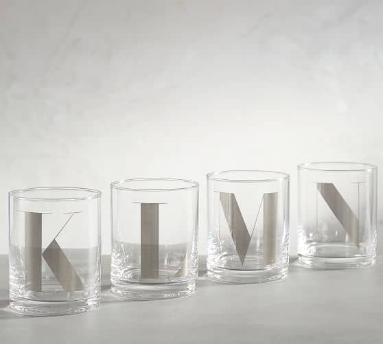 Pottery Barn: Alphabet Double Old Fashioned Glass $5.50 + Free Shipping