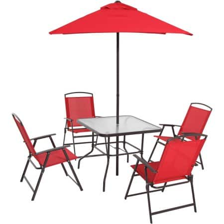 6-Piece Mainstays Albany Lane Folding Dining Set (Red) - Slickdeals.net