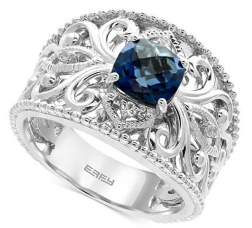 Macy's: EFFY London Blue Topaz (1-3/4 ct. t.w.) and White Sapphire Accent Statement Ring in Sterling Silver $159 + Free Shipping