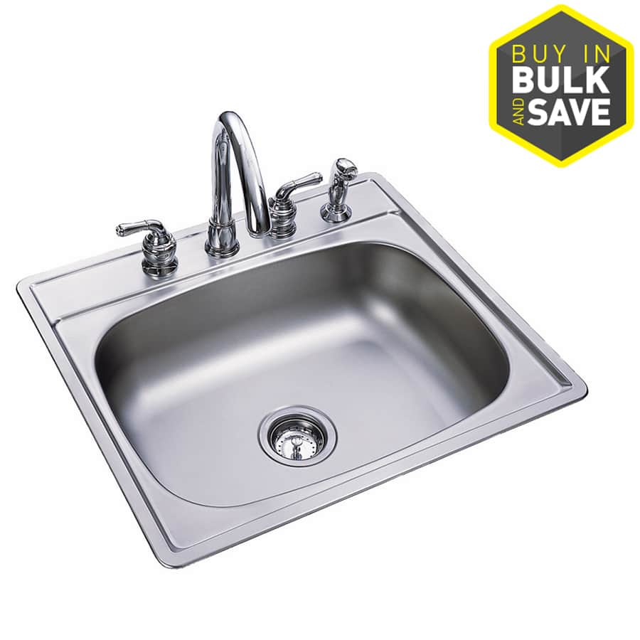 Lowe's: Kindred Essential 25-in x 22-in Single-Basin Stainless Steel Drop-in 4-Hole Commercial/Residential Kitchen Sink $35.97