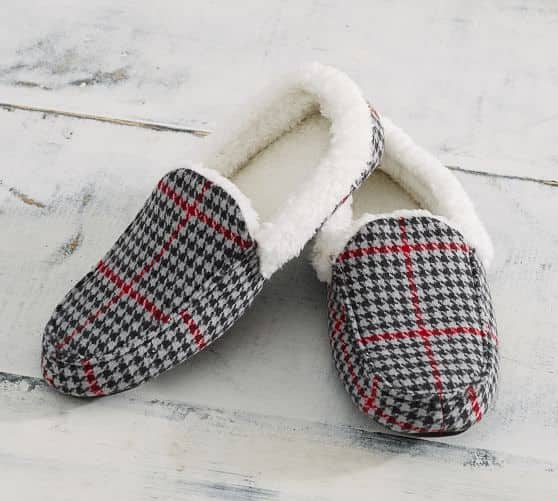 Pottery Barn: Plaid Moccasin Unisex Slippers $8.79 + Free Shipping (Save 78%)