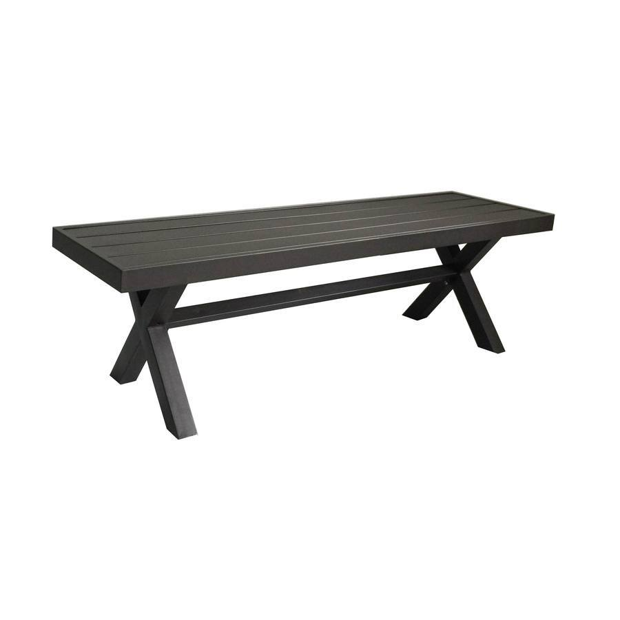 lowes 56 in w x 16 in l brown steel patio bench 50 - Lowes Patio Furniture 2