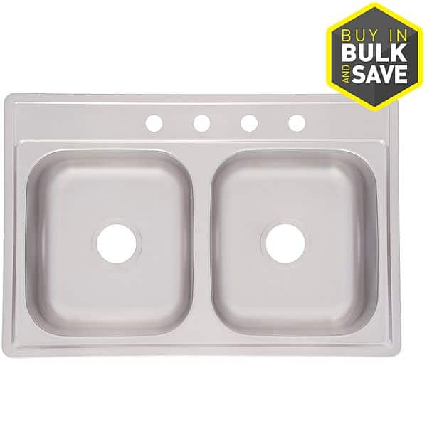 Lowe's: Kindred Essential 22-in x 33-in Double-Basin Stainless Steel Drop-In 4-Hole Kitchen Sink $3.36 HIGH YMMV!