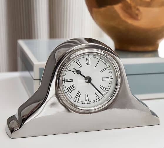 Pottery Barn: Silver Bedside Clock $18.99 + Free Shipping