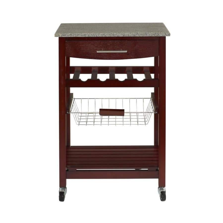 Shop Home Styles Black Scandinavian Kitchen Carts At Lowes Com: Select Lowe's Stores: Linon Granite Top Espresso Kitchen