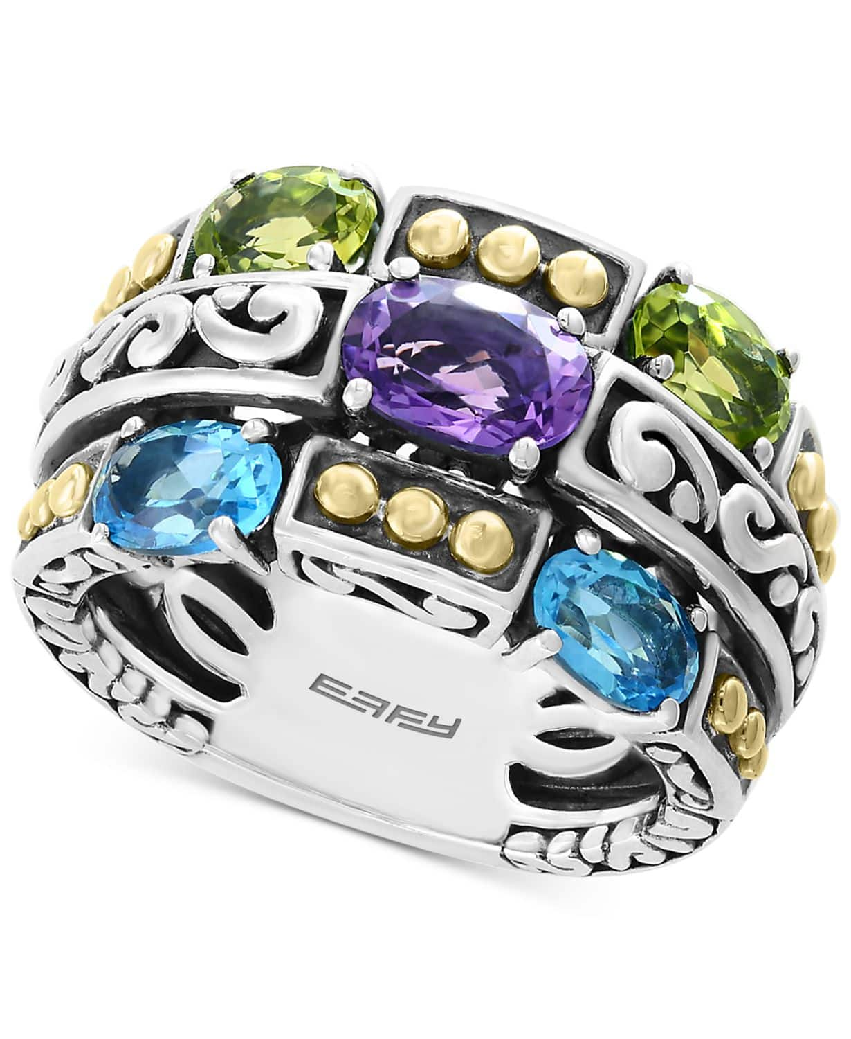 Macy's: EFFY Multi-Gemstone Statement Ring Sterling Silver & 18k Gold $69 + Free Shipping