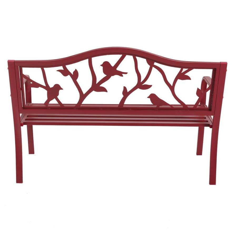 Lowe's: Garden Treasures 23.5-in W x 50.4-in L Red Steel Patio Bench $50 (Reg. $128) YMMV