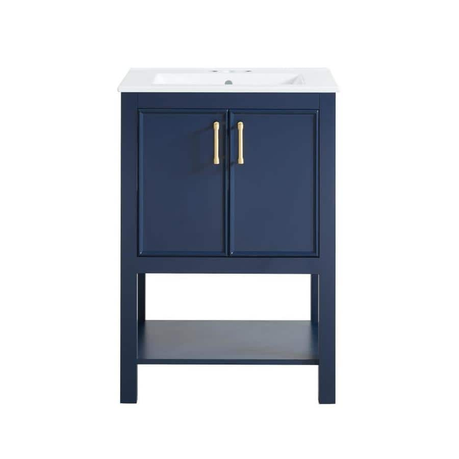 24-in  allen + roth Presnell Navy Blue Single Sink Bathroom Vanity with White Porcelain Top $215 + Free Store Pickup at Lowe's (YMMV)
