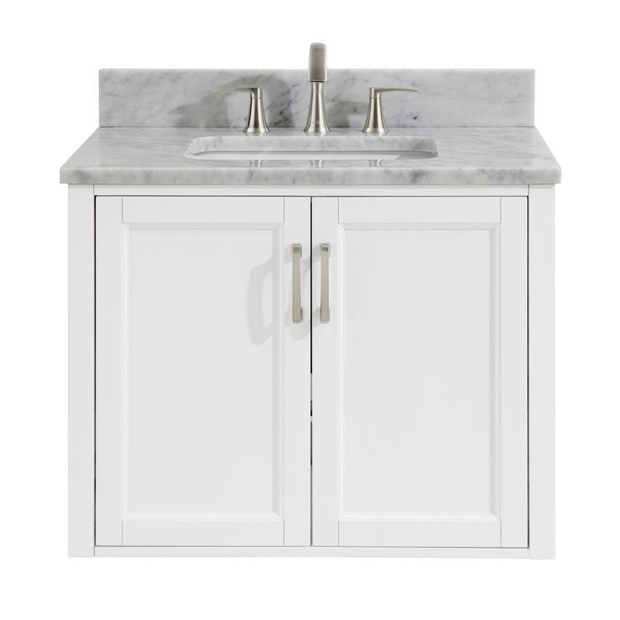 30 In Allen Roth Floating White Single Sink Bathroom Vanity With