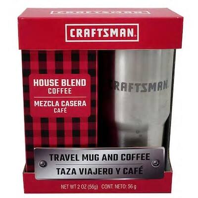 Craftsman Stainless Steel Travel Mug Gift Set w/ 2-Oz House Blend Coffee $5 at Lowe's w/ Free Store Pickup