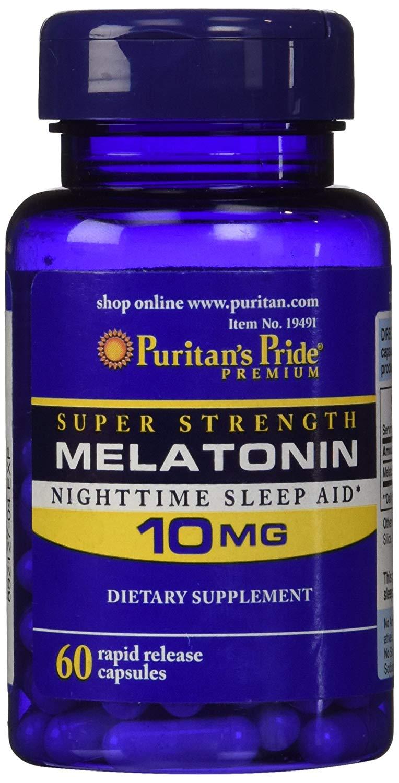 60-Count Puritan's Pride 10mg Melatonin Rapid Release Capsules