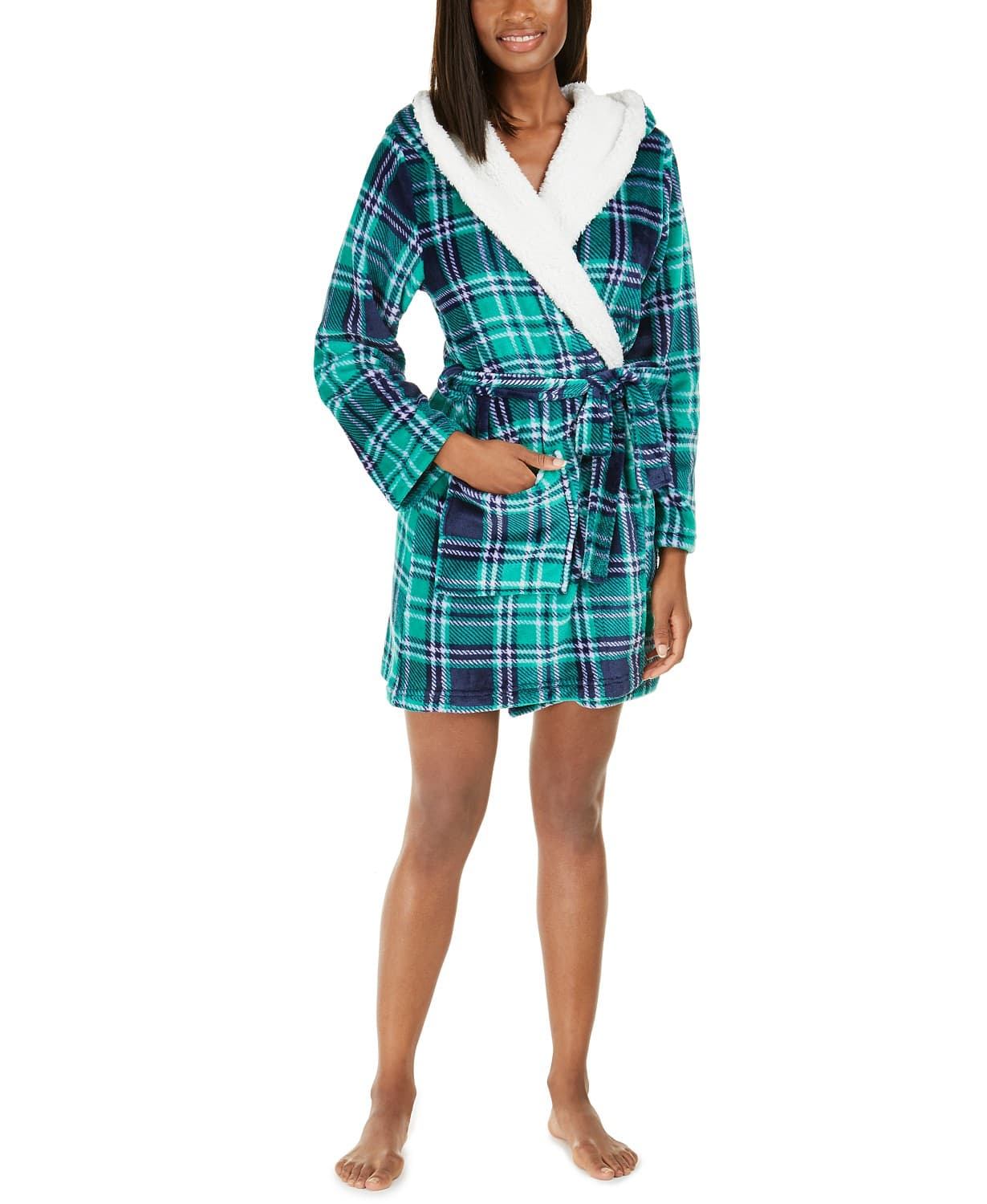 Jenni Women's Faux-Fur-Trim Plaid Bathrobe (Green, Pink) $10 at Macy's w/ Free Store Pickup
