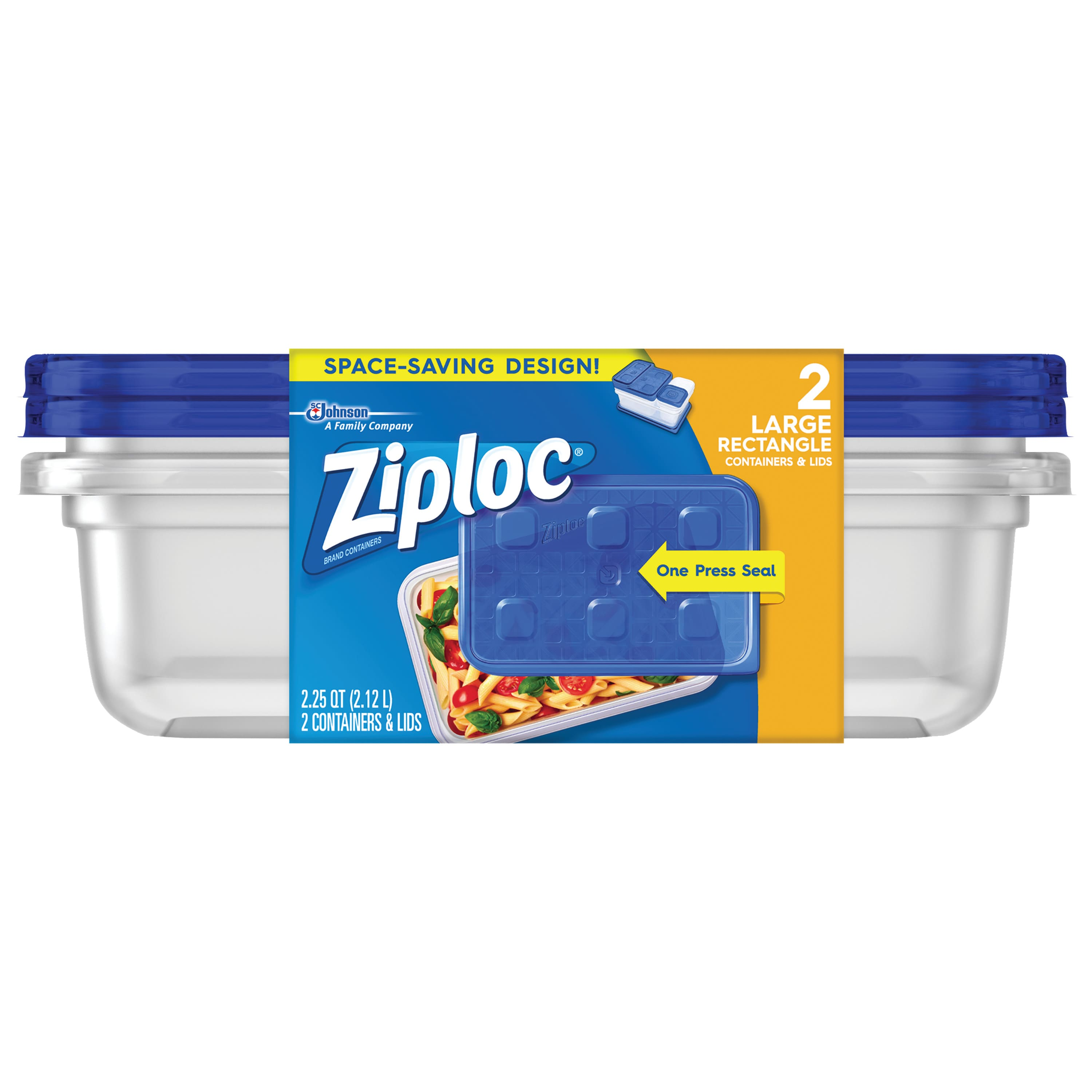 2-Count Ziploc Container with One Press Seal (Large Rectangle) $1.25 + Free Shipping