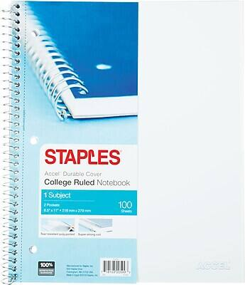 """100-Sheet Staples Accel Poly Cover 8.5"""" x 11"""" College Ruled Notebook (White, Teal) $2 + Free Shipping"""