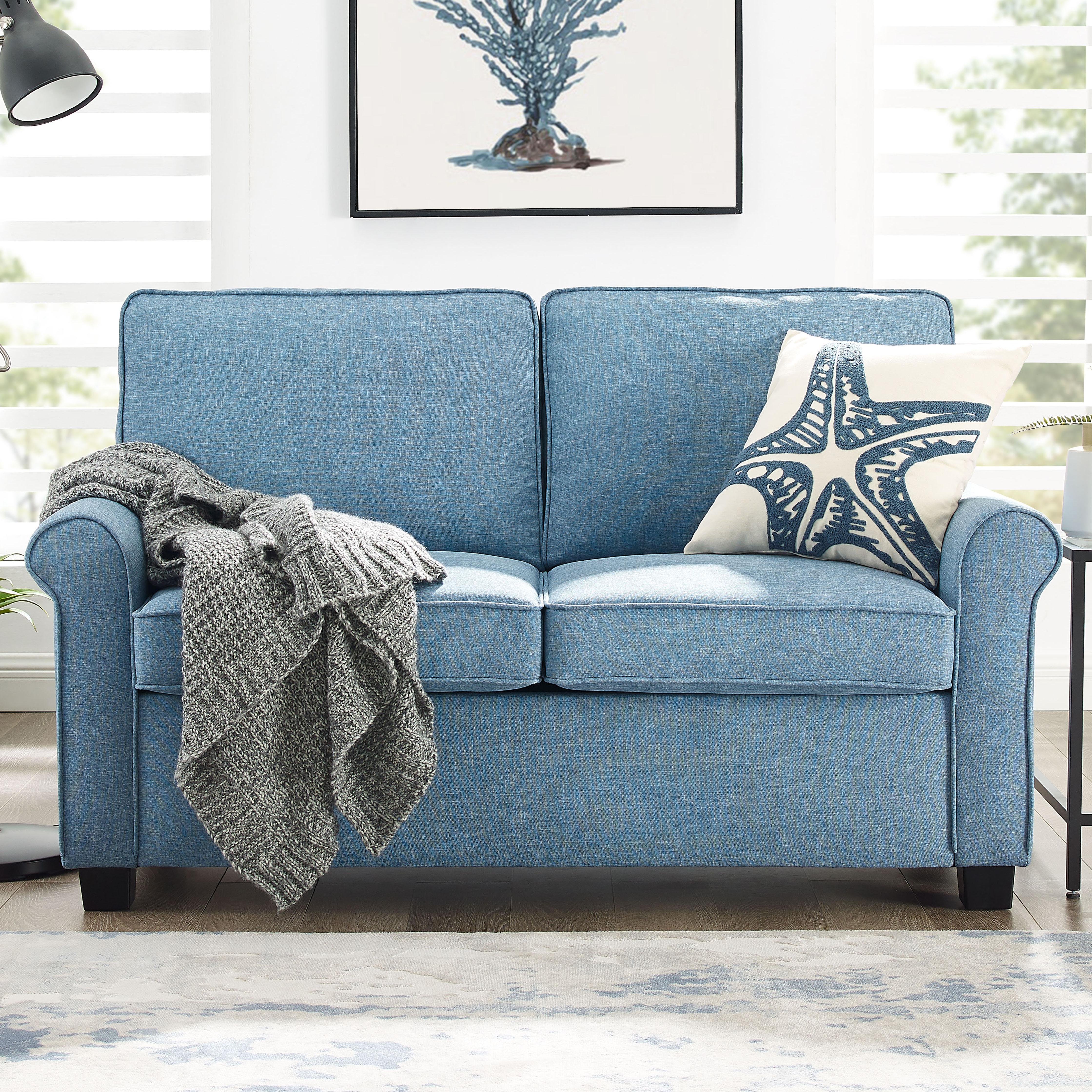 Mainstays Traditional Loveseat Sleeper with Memory Foam Mattress (Blue, Black, Burgundy, Gray) $329 + Free Shipping