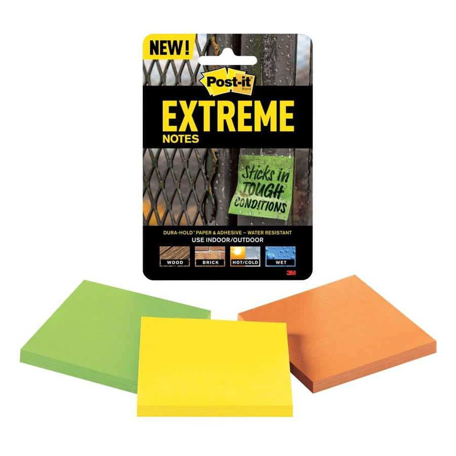 "3-Pack 3"" Post-It Extreme Notes (Yellow, Green, Orange) $1 w/ Free Store Pickup at Lowe's (YMMV)"