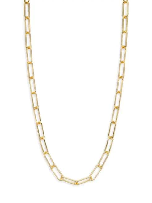 "20"" Saks Fifth Avenue Gold Vermeil Paperclip Chain Necklace $40 + FS w/ SR"