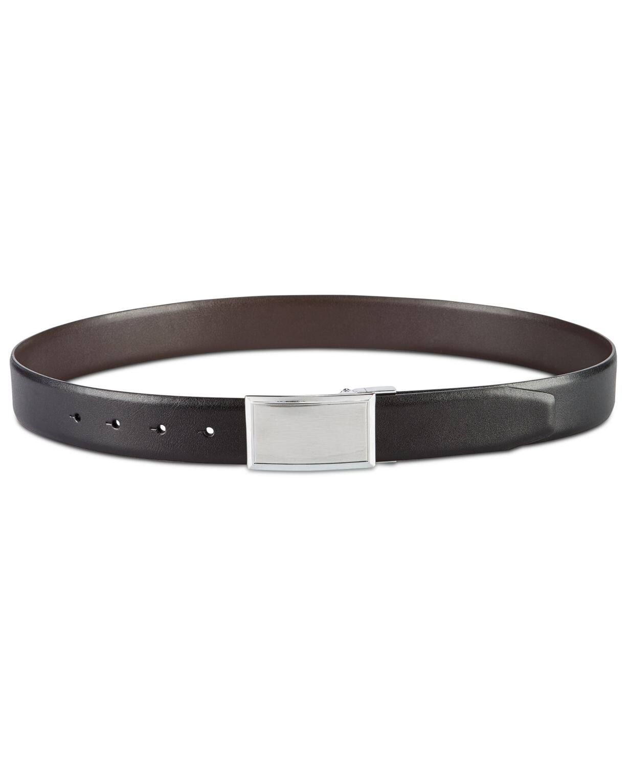 Perry Ellis Men's Shiny Leather Reversible Plaque Belt (Black) $8 & More at Macy's w/ Free Shipping on $25+
