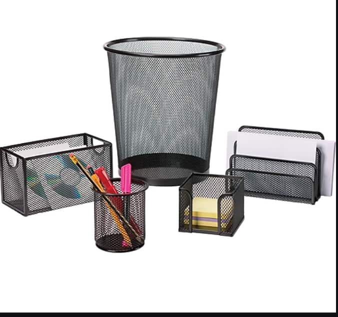5-Piece Staples Black Wire Mesh Desk Collection $14.60 + Free Shipping