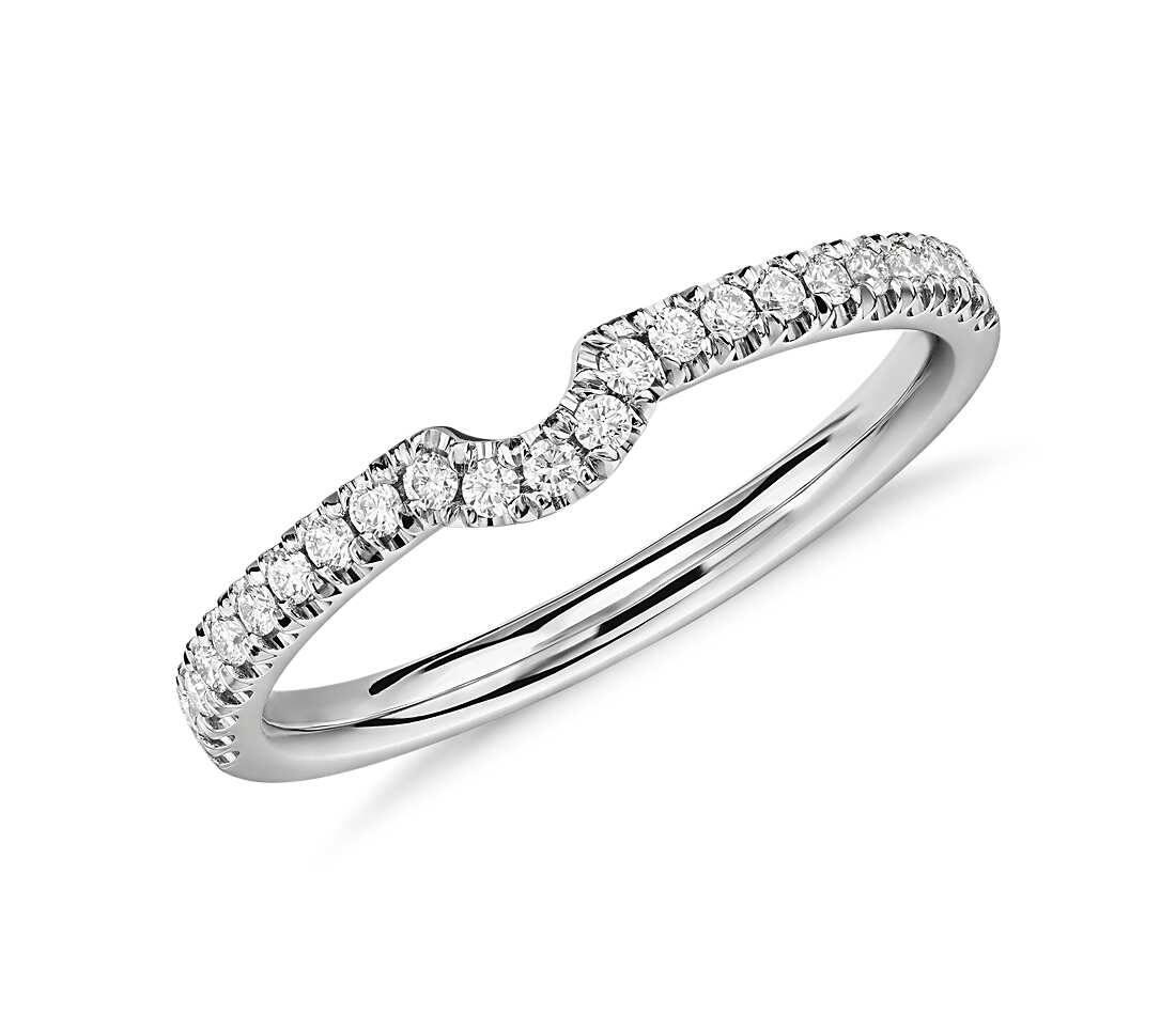 Blue Nile: Classic Curved Pavé Diamond Wedding Ring in 14K White Gold $365 & More + Free Shipping
