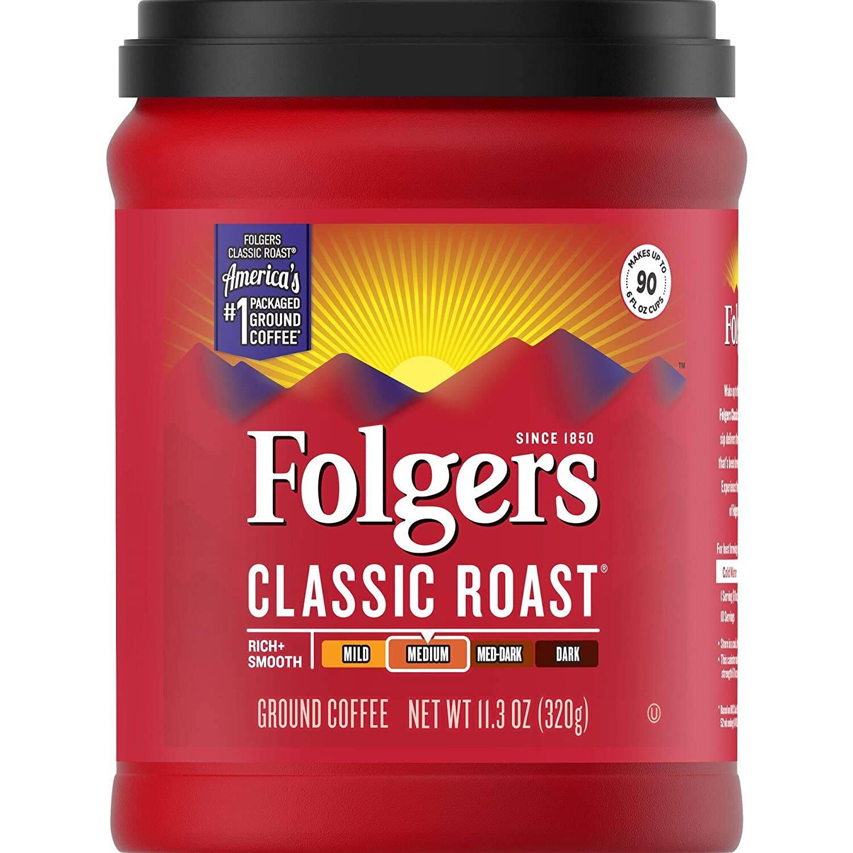 11.3-Oz Folgers Classic Roast Ground Coffee (Medium Roast) $3 + Free Shipping w/ Prime or $25+