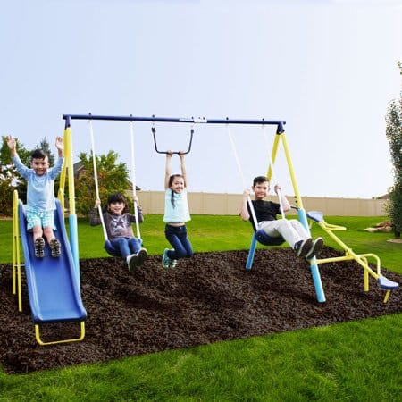 Sportspower Outdoor Super First Metal Swing Set with Trapeze, Teeter-Totter, and 6' Heavy Duty Slide $139 + Free S&H