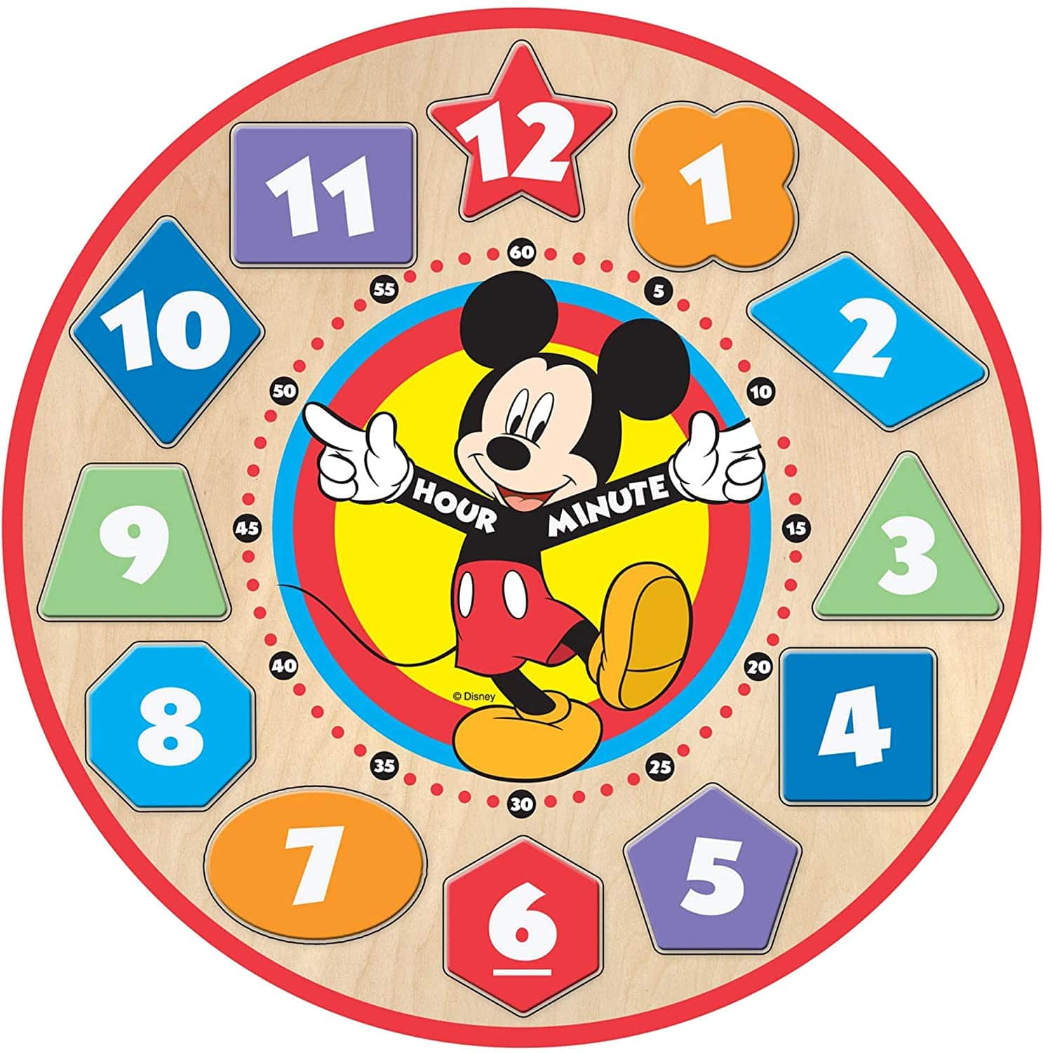 Melissa & Doug Disney Mickey Mouse Wooden Shape Toy Sorting Clock $7 + Free S&H w/ Prime or $25+
