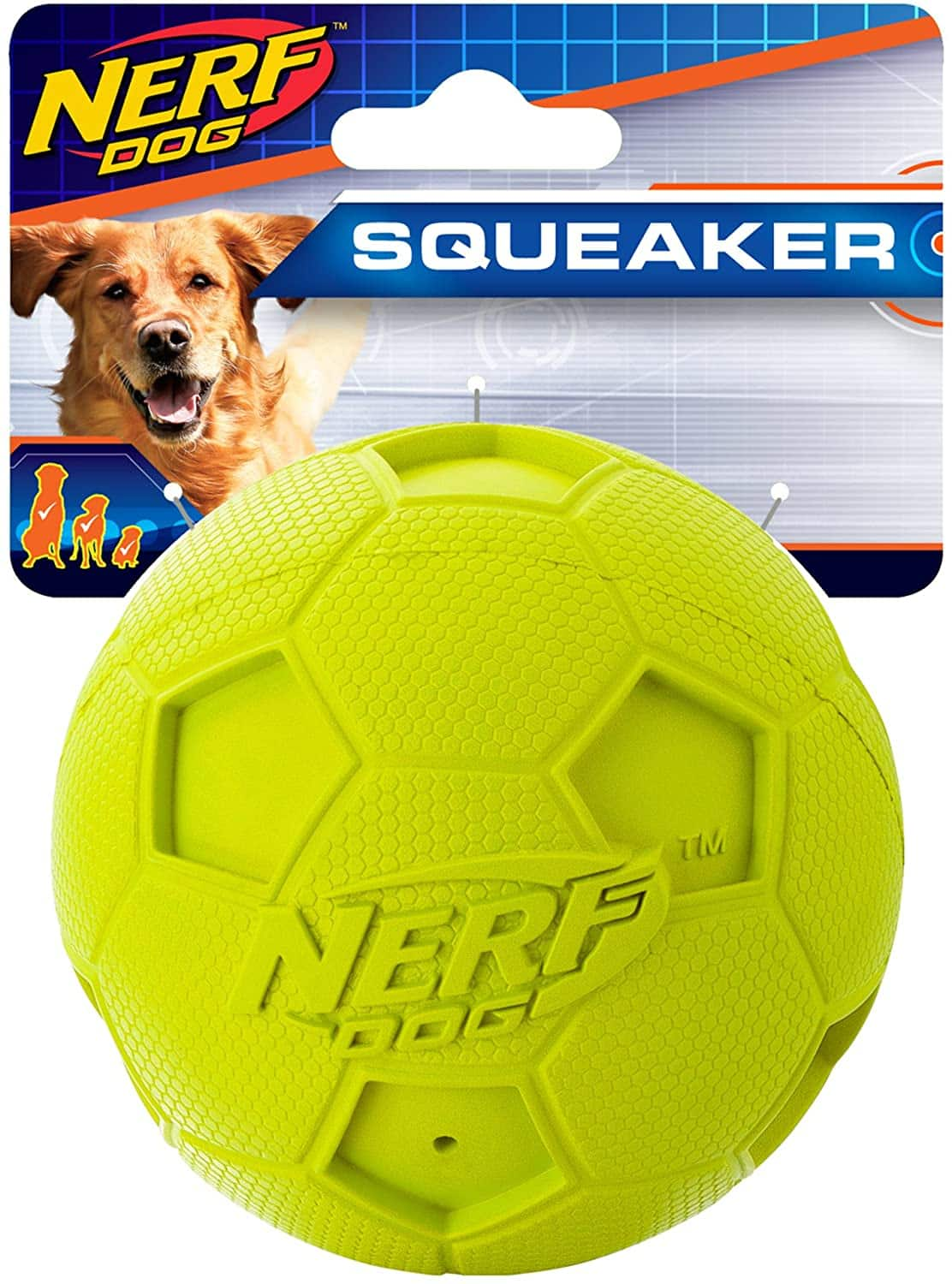 """Nerf Dog Soccer Squeak Ball Dog Toy (Green, 3.25"""") $1.50 + Free Shipping w/ Prime or $25+"""