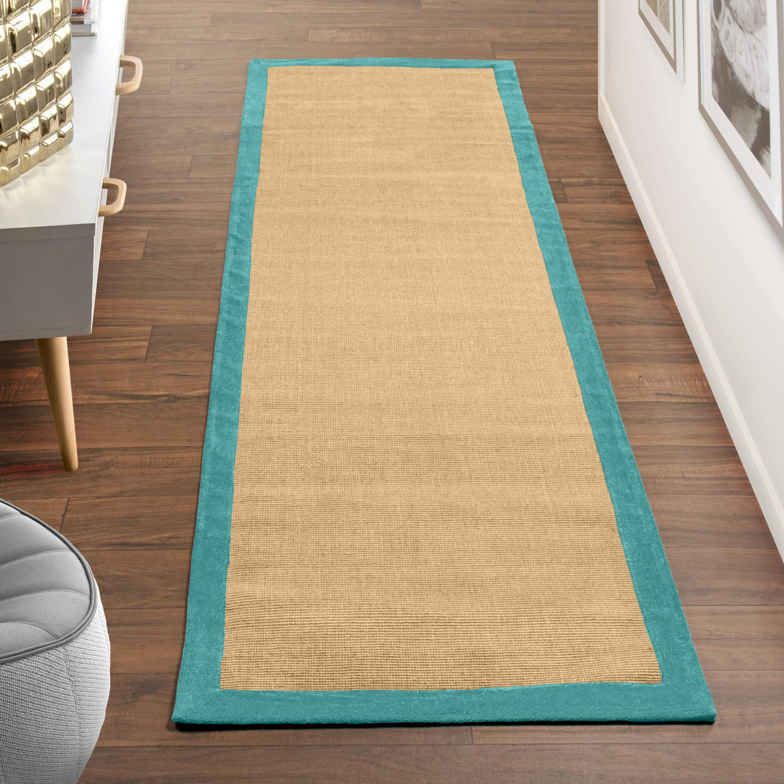 """2'6"""" x 8' Impressions Eilonwy Jute Hand-Woven Indoor Area Rug (Turquoise) $25.70 & More at Walmart"""