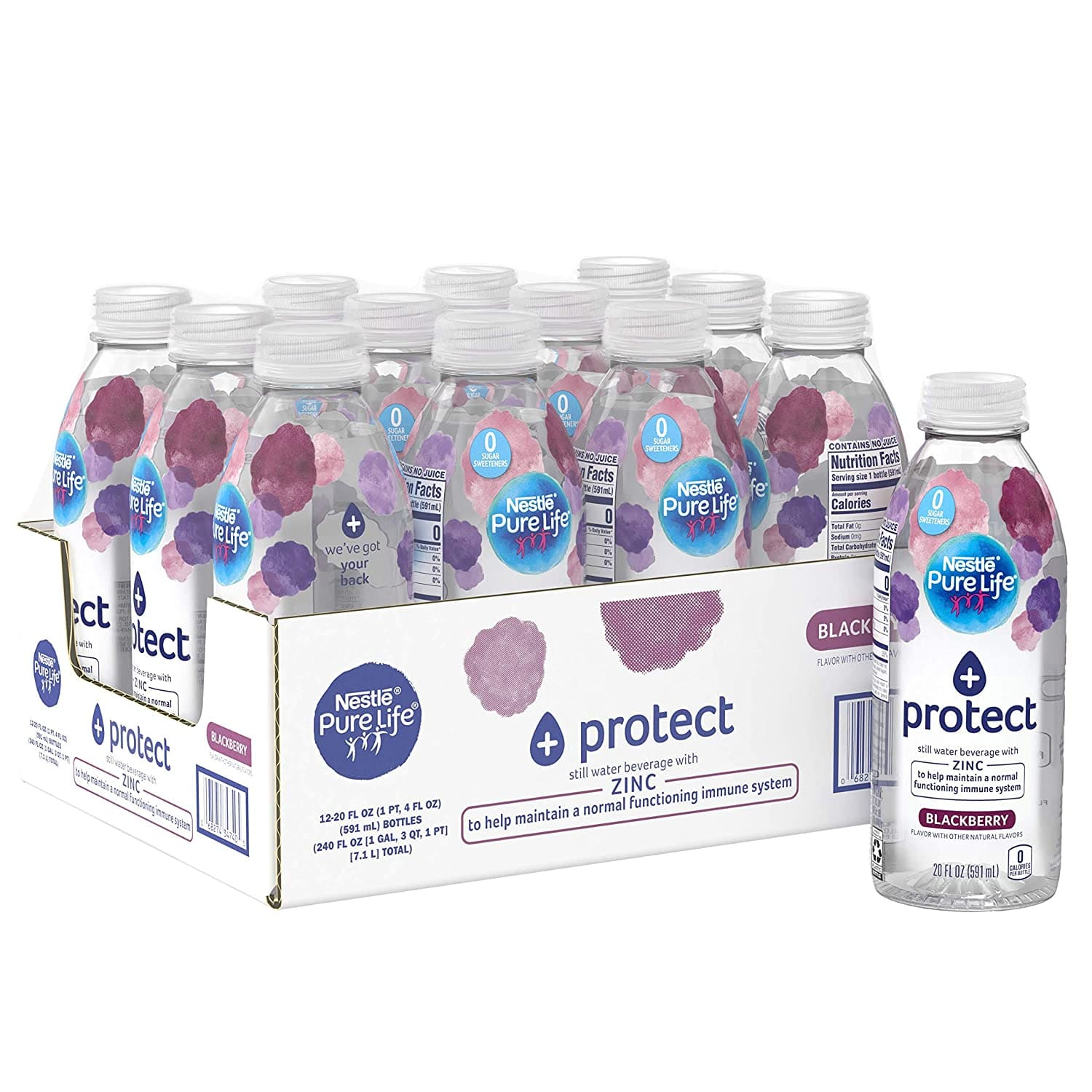 12-Pack 20-Oz Nestle Pure Life+ Enhanced Water Beverage (Blackberry or Lemon) $7.35 w/ S&S + Free S&H w/ Prime or $25+