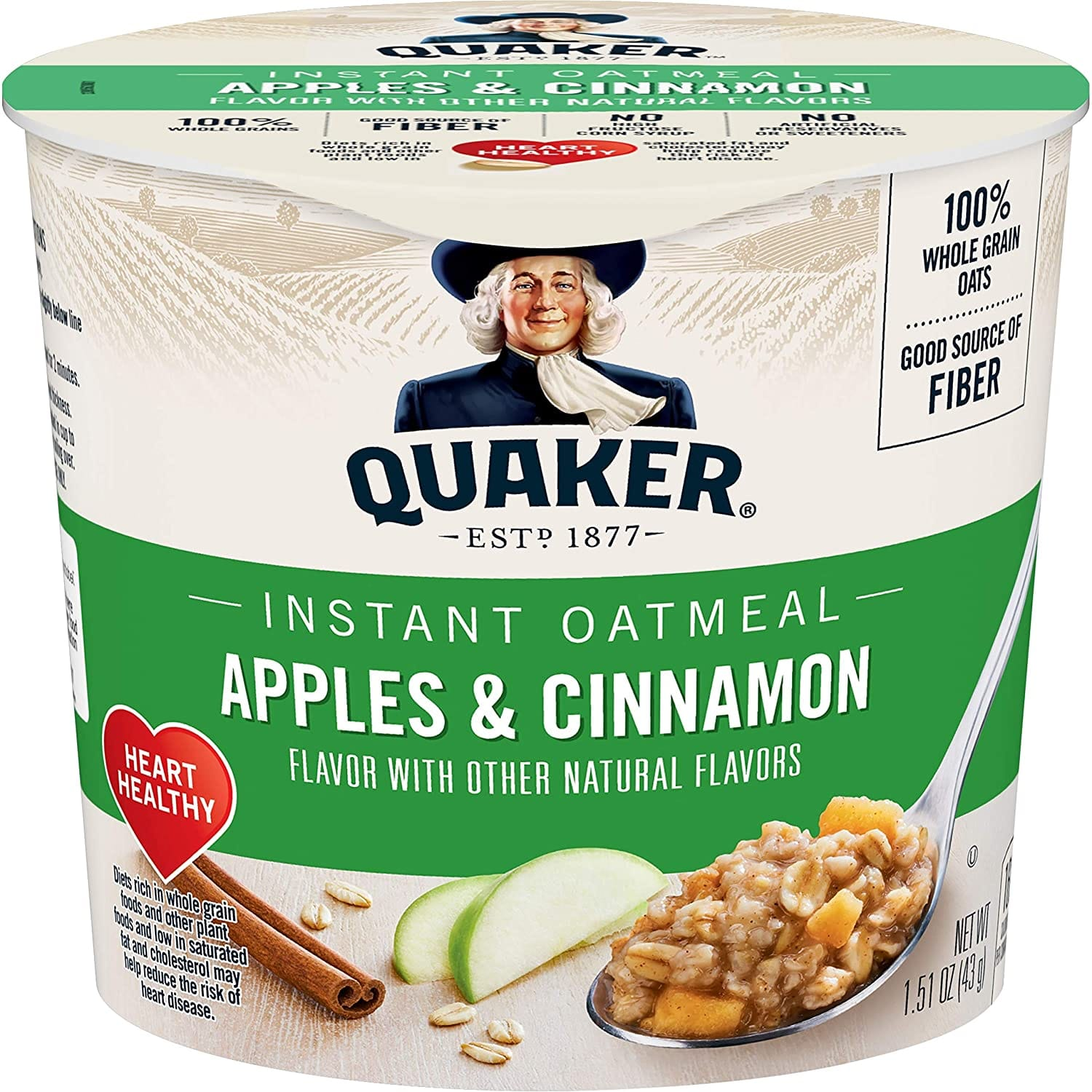 12-Count Quaker Instant Oatmeal Express Cups (Apples & Cinnamon) $8.60 w/ S&S + Free S&H w/ Prime or $25+