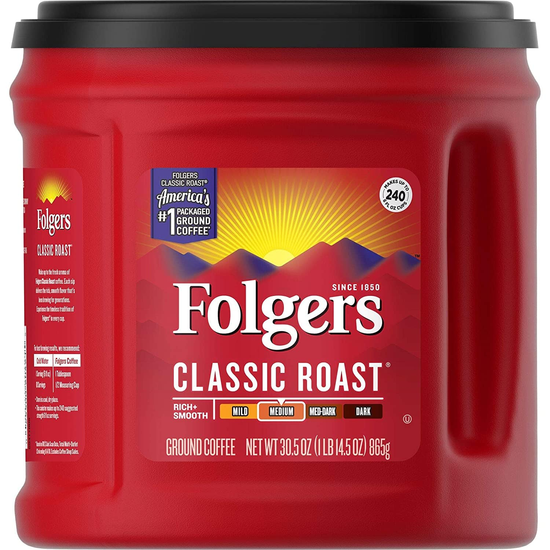 30.5-Oz Folgers Classic Roast Ground Coffee (Medium Roast) $5 + Free Shipping w/ Staples Rewards or $20+