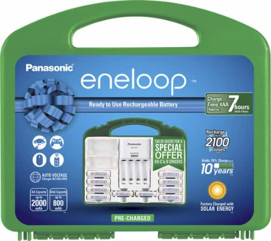Panasonic - eneloop Advanced Battery Charger with 8 AA and 4 AAA Batteries Kit - White $20