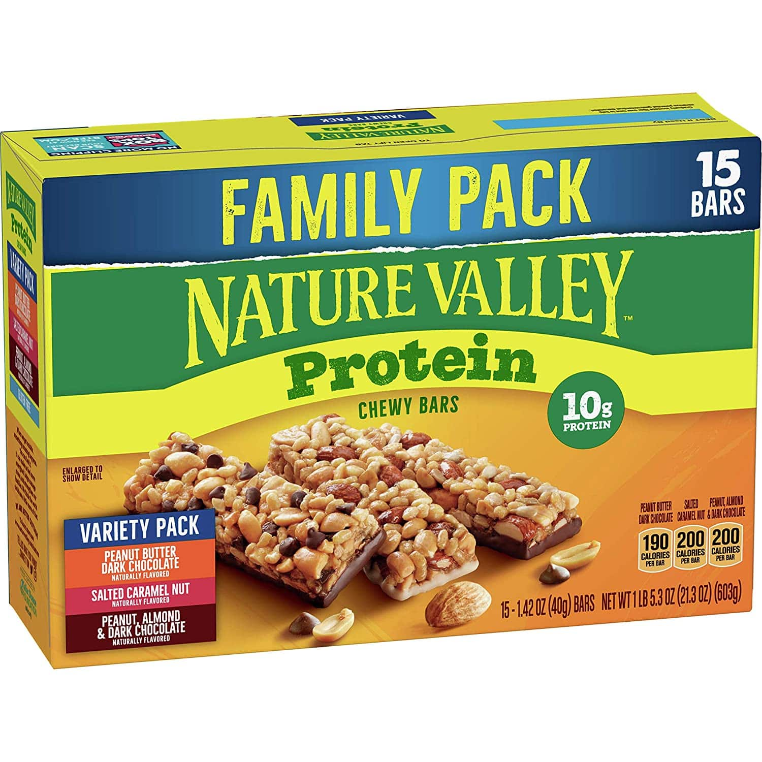 Nature Valley Chewy Granola Bars, Protein Variety Pack, Gluten Free, 21.3 oz $6.18 with coupon and S&S
