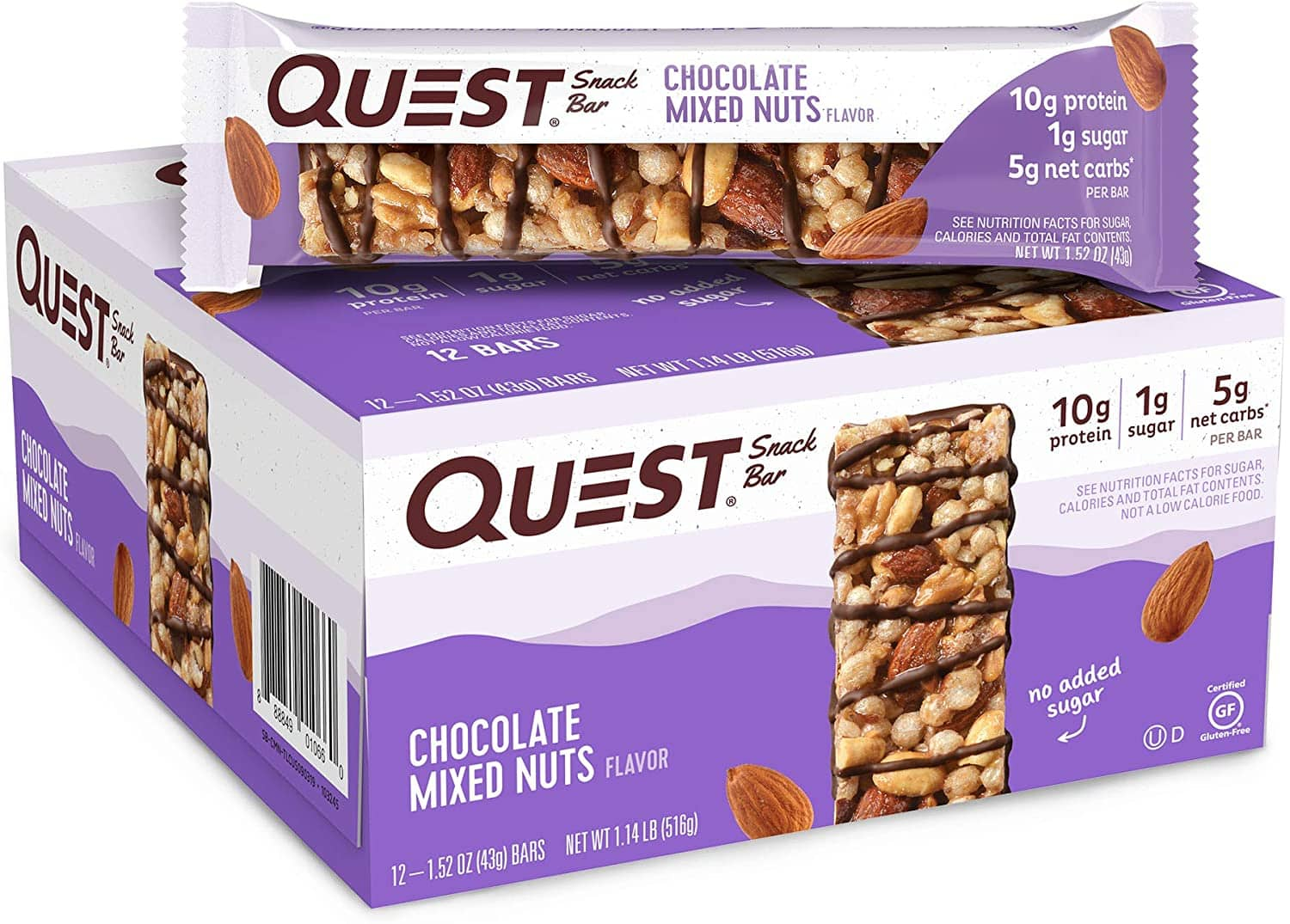 Quest Nutrition Chocolate Mixed Nuts Snack Bar 1.52 Ounce 12-pack  $10.79 w/coupon Amazon