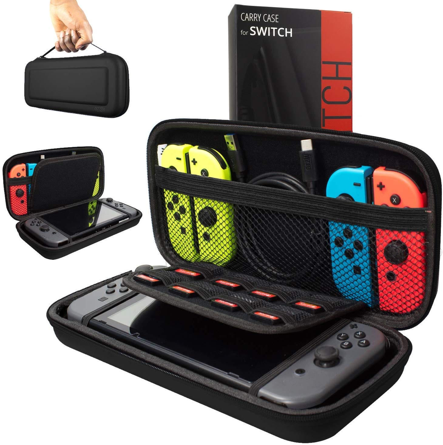 Orzly Carring Nintendo Switch Carrying Case - BLACK Protective Hard Portable Travel Carry Case Shell Pouch for Nintendo Switch Console & Accessories $15.91