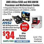 AMD Athlon 5350 & MSI AM1M Motherboard bundle $34AR @Frys