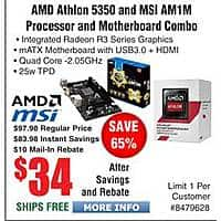 Frys Deal: AMD Athlon 5350 & MSI AM1M Motherboard bundle $34AR @Frys