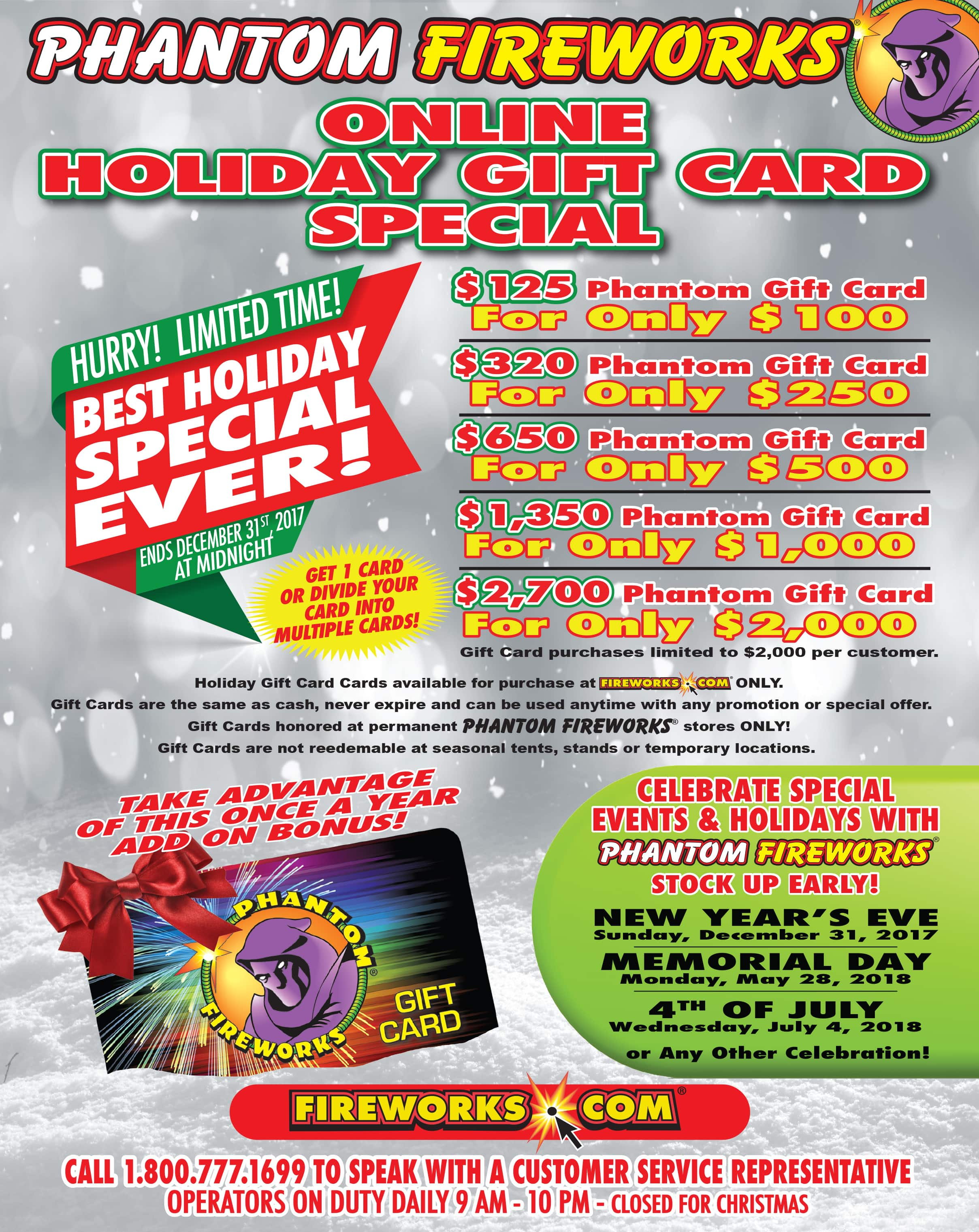 Phantom Fireworks 2017 Holiday Gift Card Special!