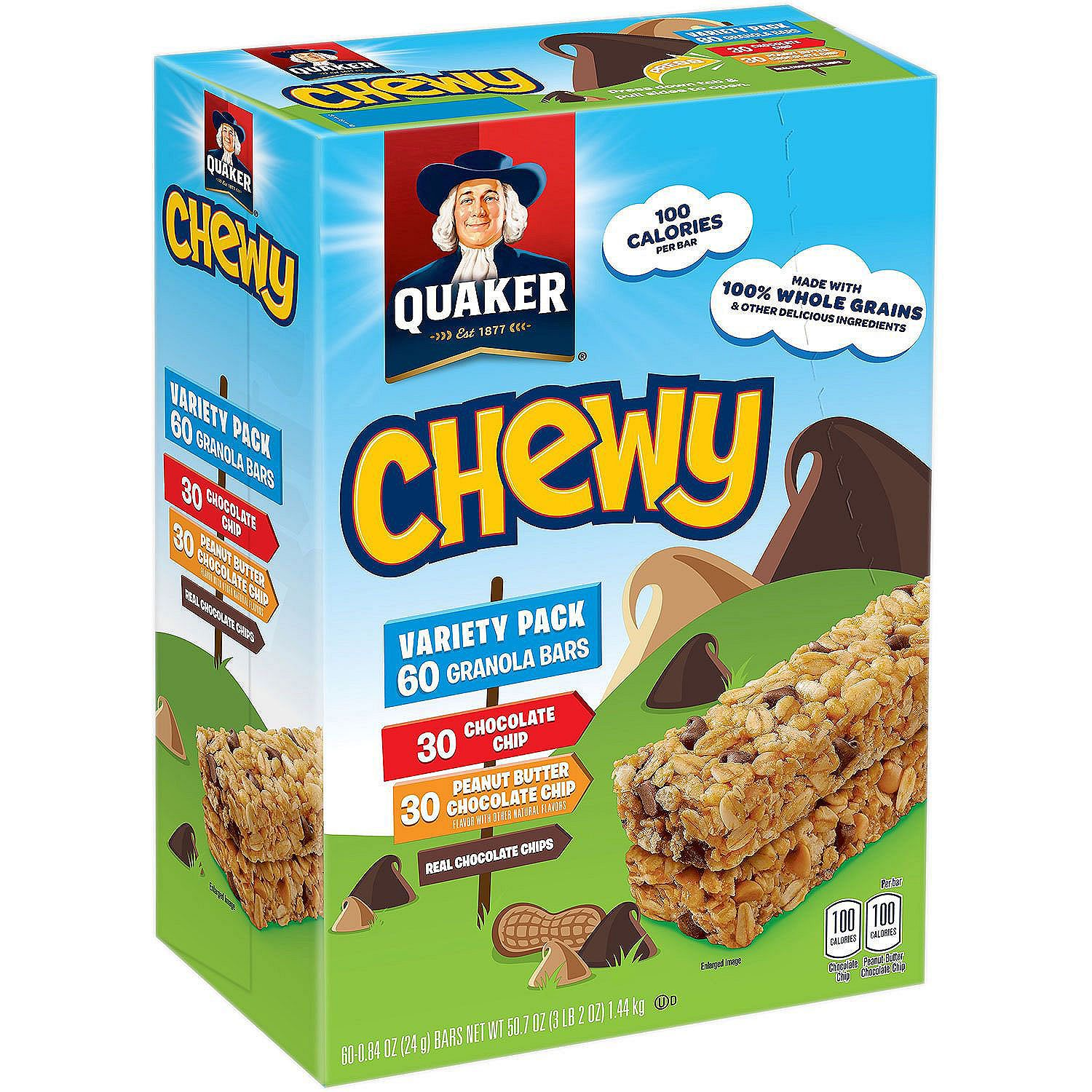 Quaker Chewy Granola Bars 60-ct. Variety Pack (Two Options) for $6.48 at Sam's Club