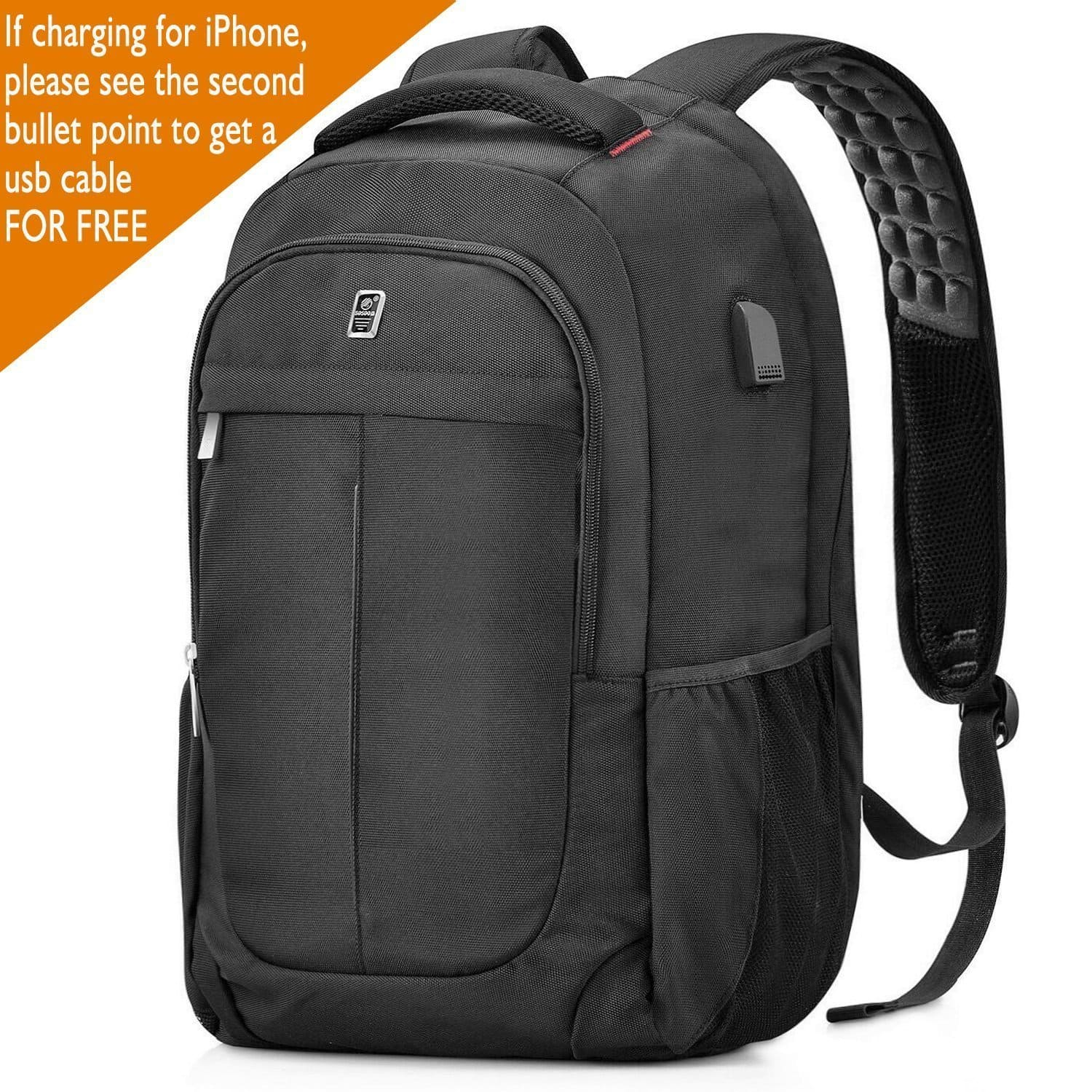 """Sosoon Black 15.6"""" Laptop Backpack with USB Charging Port & FREE USB Charging Cable (Anti-Theft, Water Resistant Polyester) $12.23 after 30% off at Amazon.com"""