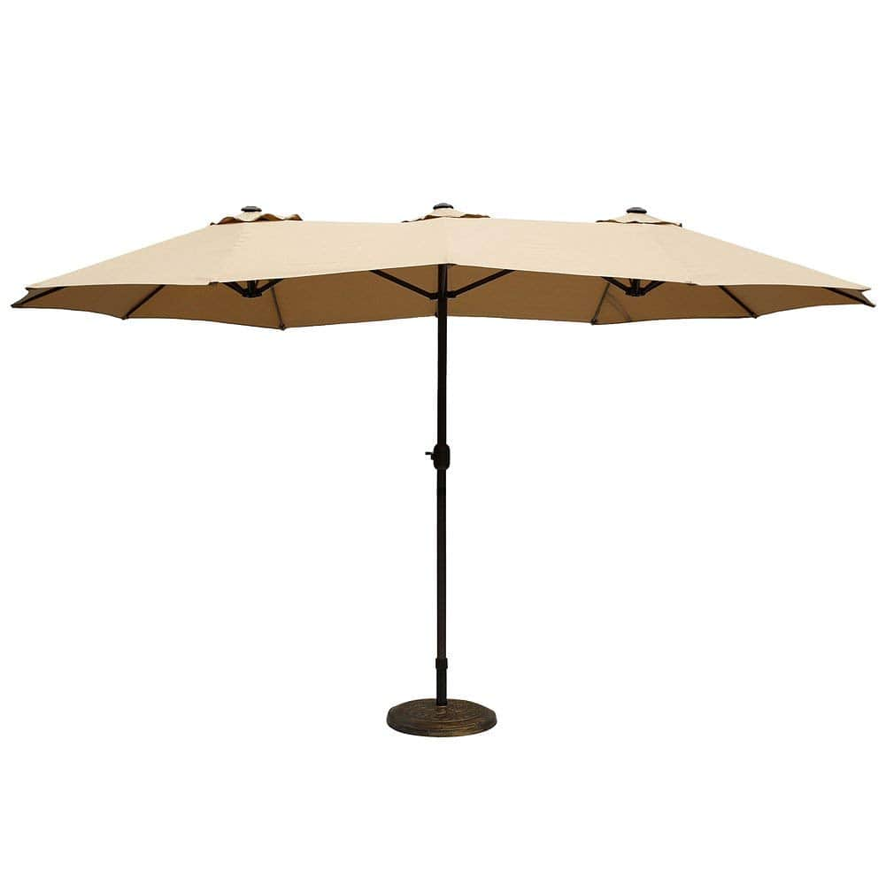 LE PAPILLON Outdoor/Patio Umbrella with Crank (14-feet, Double-Wide, Aluminum Pole, Beige Only): $97.49 after 35% off