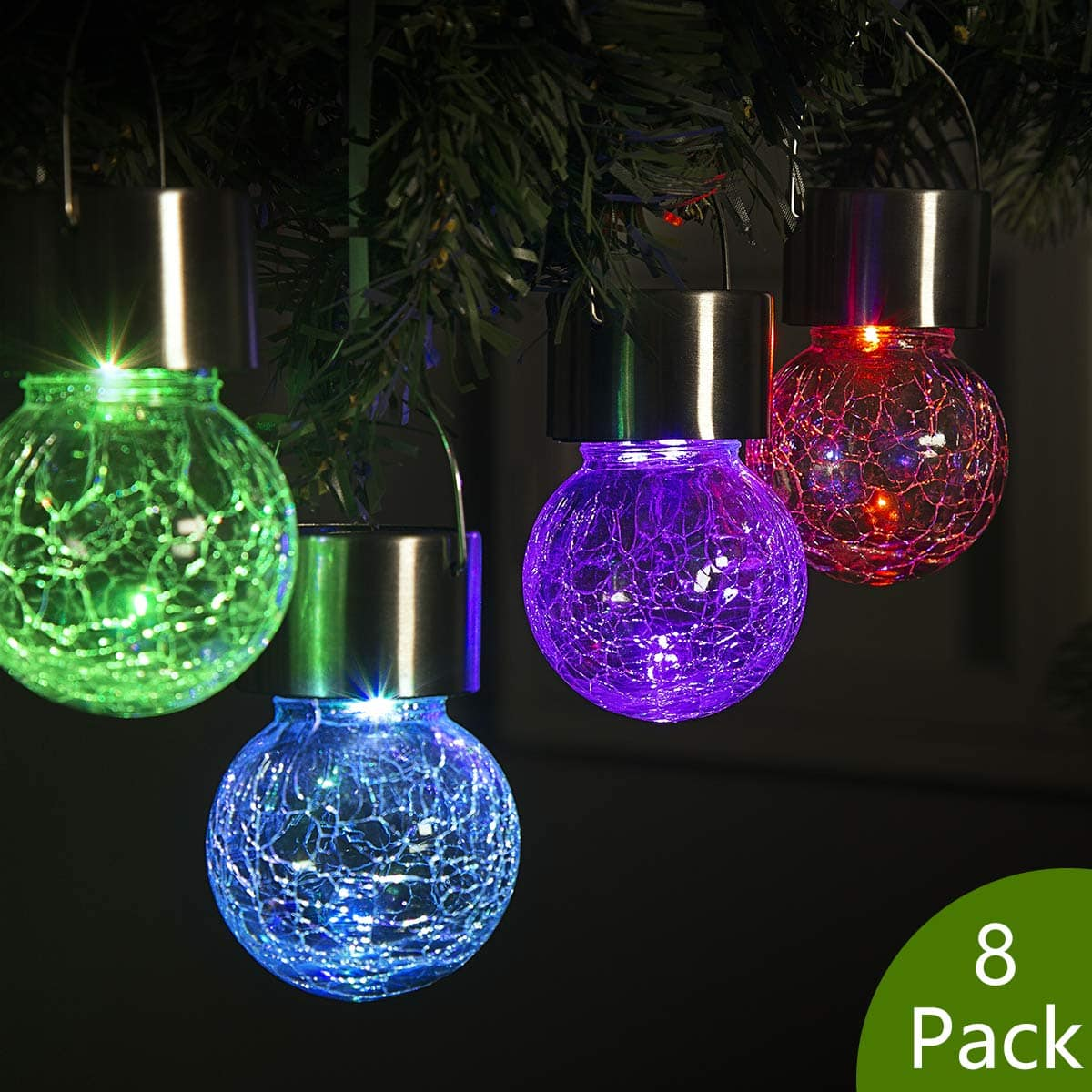8 Pack Hanging Solar Lights Color Changing Ed Gl 16 5 Fs Slickdeals