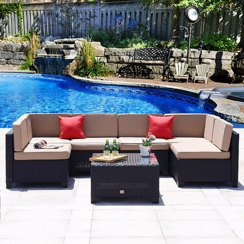 Patio 7 Piece Wicker Rattan Furniture Outdoor Sectional Conversation Set Black @Amazon $472.49 + Free Shipping