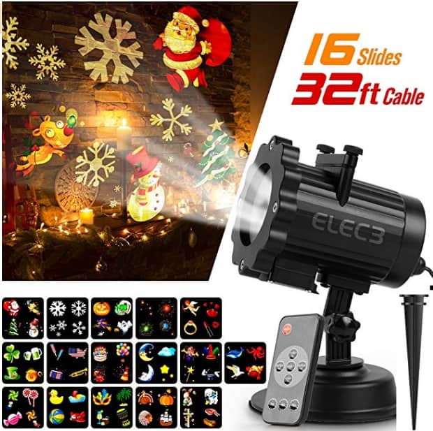 16 Pattern LED Christmas Projector Light with RF Remote Control for $22.99 @ Amazon