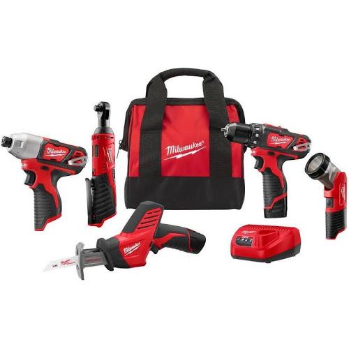milwaukee m12 12v cordless 5-tool combo kit w/ two batteries & more ...