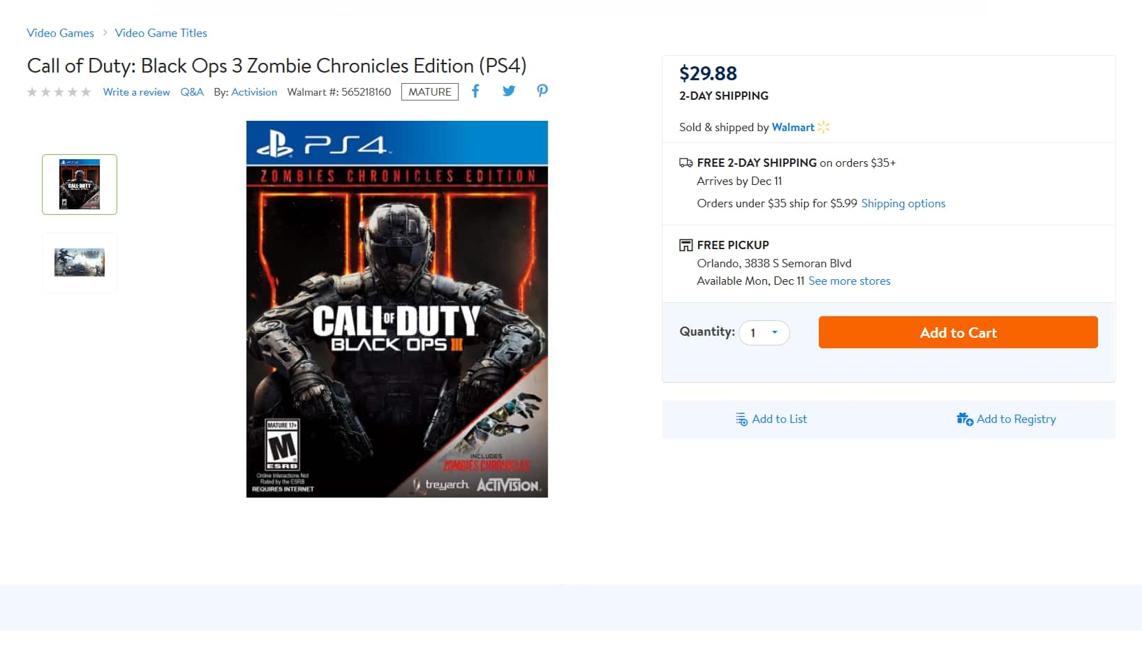 Call of Duty Black opps with Zombies $29.99