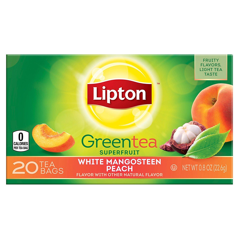 6 Pack - Lipton Green Tea Bags, White Mangosteen Peach, 20 Count $1.90