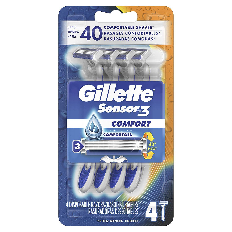 Gillette Sensor3 Smooth Shave Disposable Razor, 4 Count $1.49
