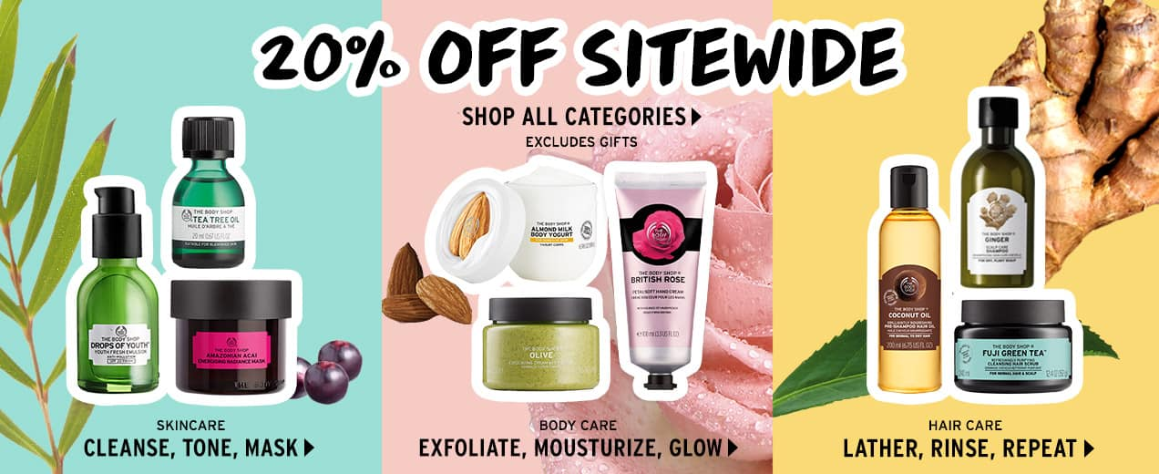 The body shop 20% off sitewide